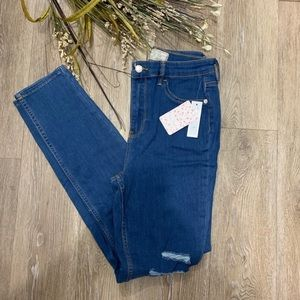 Free people high waist ripped skinny jeggings